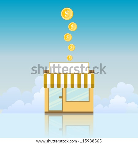 Vector illustration of a small store yielding gold coins. - stock vector