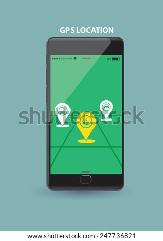 Vector illustration of a smart wireless mobile phone showing GPS application on touch screen.   - stock vector