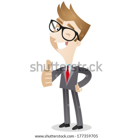 Vector illustration of a smiling and winking cartoon business man in three-quarter profile giving the thumbs up. - stock vector