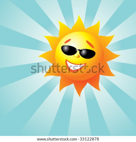 Vector illustration of a smiling sun with sun rays - stock vector