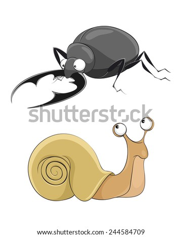 Vector illustration of a  snail and stag-beetle