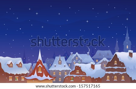 Vector illustration of a snow-covered old town's roofs - stock vector