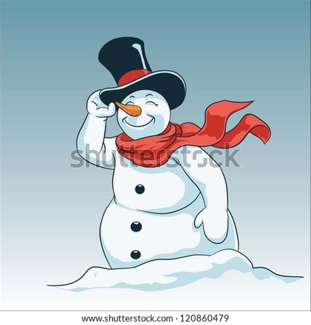 Vector illustration of a snowman - stock vector