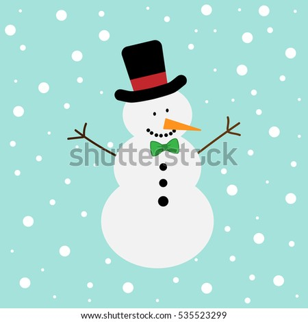 vector illustration of a snowman on a snow background