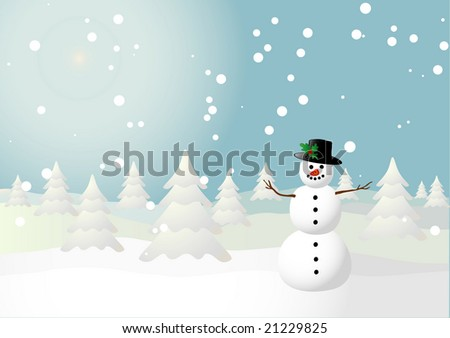 Vector illustration of a snowman on a snowy field - stock vector