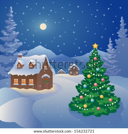 Vector illustration of a snowy Christmas night village at the mountains - stock vector