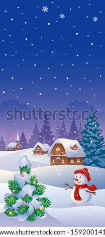 Vector illustration of a snowy country and a cute snow man decorating a small fir tree, vertical banner - stock vector