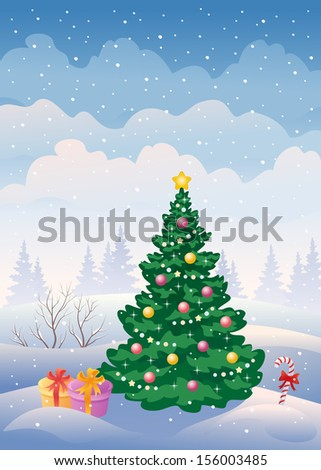 Vector illustration of a snowy landscape - stock vector