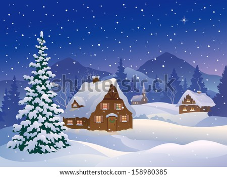 Vector illustration of a snowy winter night village at mountain woods