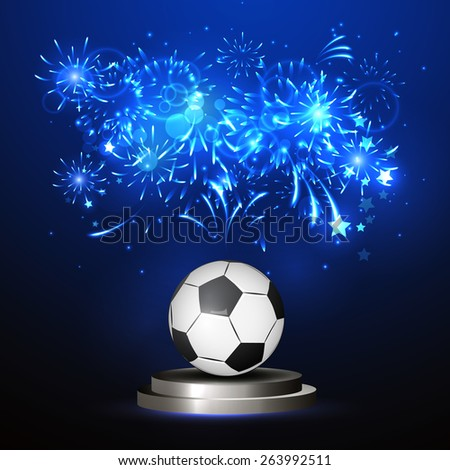 Vector illustration of a soccer ball in the center, bright lines, championship victory - stock vector
