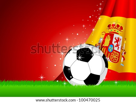 Vector illustration of a soccer ball with Spain insignia