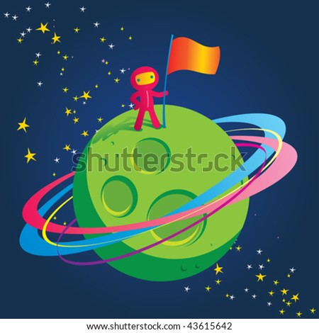 Vector illustration of a spaceman conquering a new planet. - stock vector