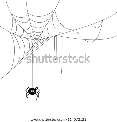 Vector Illustration of a Spider and a Web - stock vector