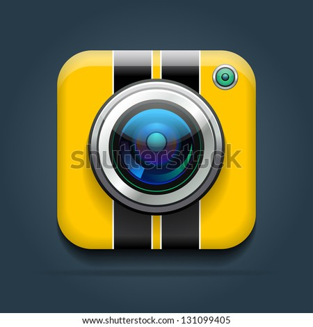 Vector illustration of a sport shockproof camera icon. Eps 10. - stock vector