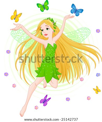 Vector illustration of a spring fairy in flight - stock vector
