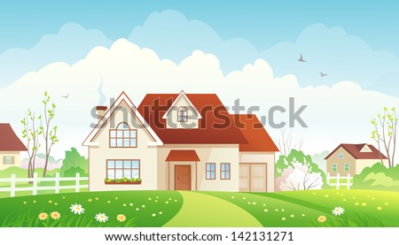Vector illustration of a spring suburban landscape - stock vector