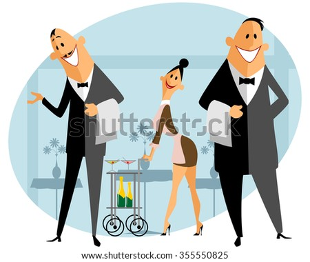 Vector illustration of a staff in the restaurant - stock vector