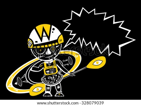 Vector illustration of a standing kayaker with a speech bubble isolated on black background. T-shirt print