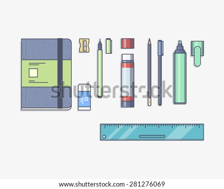 Vector illustration of a stationery set with a pen, eraser, felt pen, notebook, pencil, glue pencil, sharpener, ruler a white background.  - stock vector