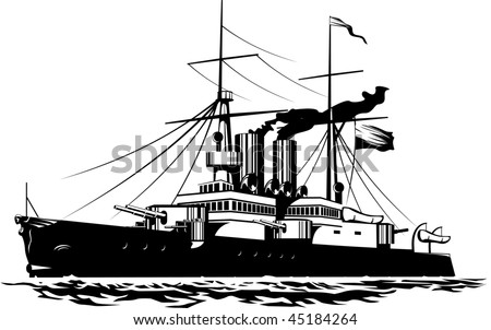 Vector illustration of a steam Battleship black and white - stock vector