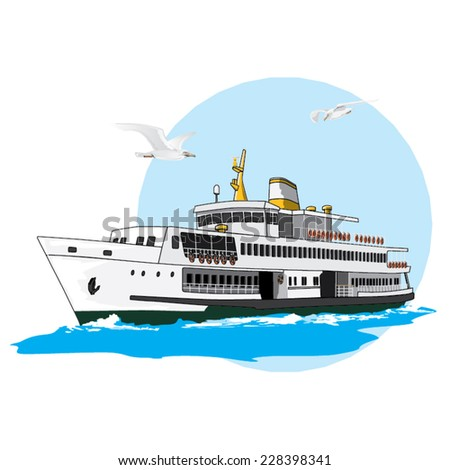 Vector illustration of a steamship from Istanbul, Turkey. - stock vector