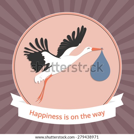 Vector illustration of a stork carrying a newborn baby for your design - stock vector