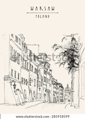 Vector illustration of a street in in old center of Warsaw, Poland, Europe. Historical buildings line art. Travel sketch drawing, hand lettering. Monochrome vertical vintage postcard, banner template