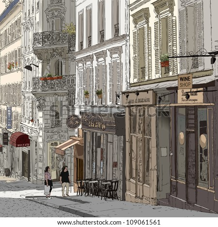 Vector illustration of a street in Montmartre Paris