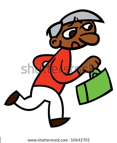 Vector illustration of a stressed out running business man carrying a briefcase and possibly late for a meeting - stock vector
