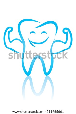 Vector illustration of a strong tooth - stock vector