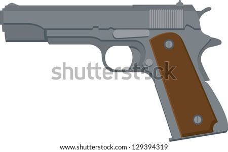 Vector Illustration of a 1911-style automatic pistol - stock vector