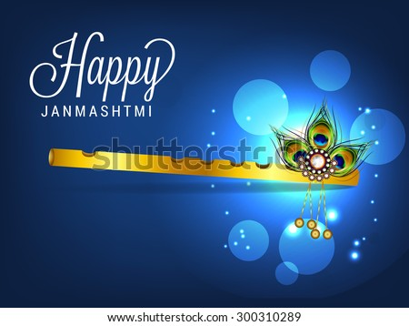Vector illustration of a stylish Flute for the Indian festival of janamashtmi celebration. - stock vector