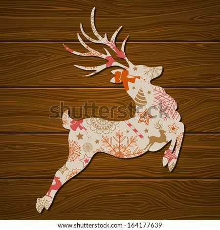 Vector Illustration of a Stylized Christmas Reindeer - stock vector