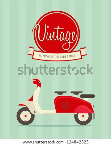 Vector illustration of a stylized vintage motorcycle - stock vector