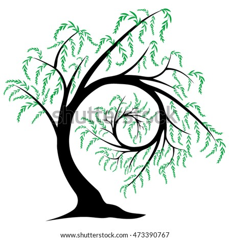 vector illustration stylized willow tree spiraling stock vector rh shutterstock com willow tree look alike figurines willow tree logo design
