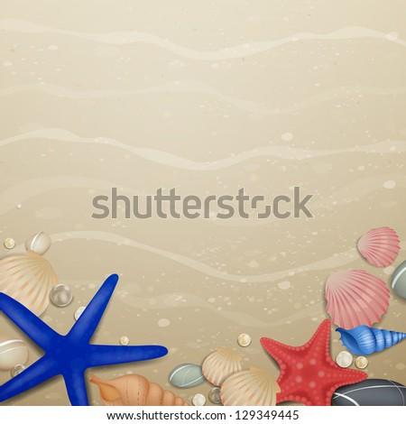 Vector Illustration of a Summer Beach Design - stock vector