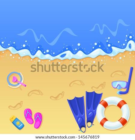 Vector illustration of a sunny beach scene. - stock vector