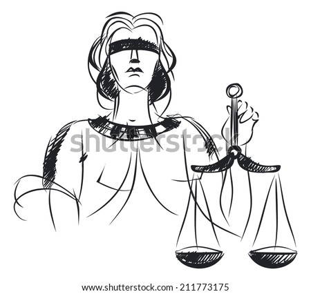 Vector illustration of a symbol of justice and law - stock vector