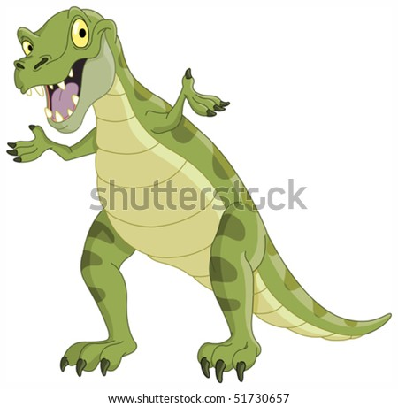 Vector illustration of a T-Rex presenting - stock vector