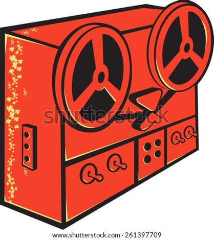 vector illustration of a tape recorder, tape deck, reel-to-reel tape deck, cassette deck or tape machine done in retro style on isolated white background. - stock vector
