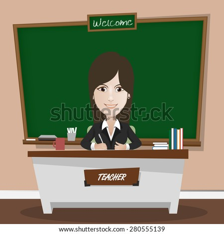 Vector illustration of a teacher and classic chalkboard in classroom - stock vector