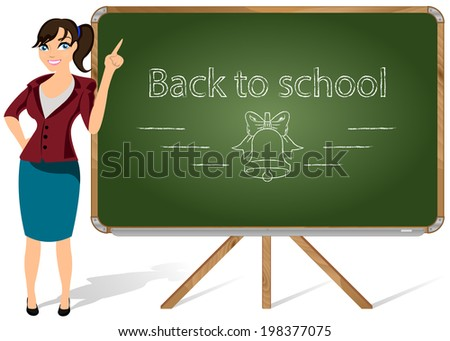 Vector illustration of a teacher pointing to blackboard on a white background - stock vector