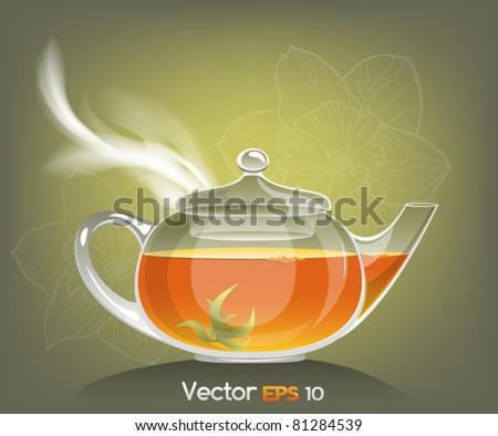 Vector illustration of a teapot, EPS10 - stock vector