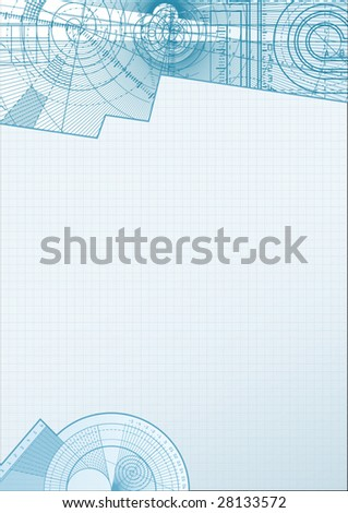 Vector illustration of a technical background with square paper element. - stock vector