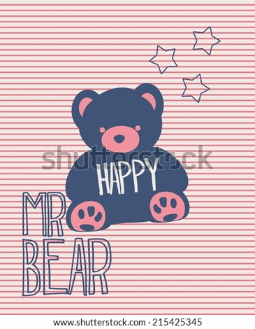 Vector illustration of a teddy bear  stripes and stars