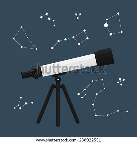 Vector illustration of a telescope with constellations around - stock vector