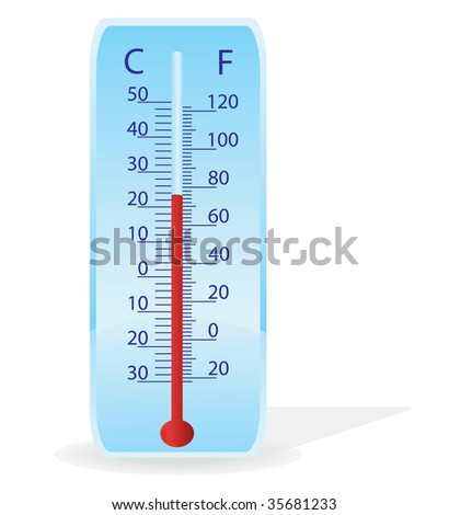 Vector illustration of a thermometer on a white background - stock vector