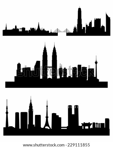 Vector illustration of a three capitals silhouettes - stock vector