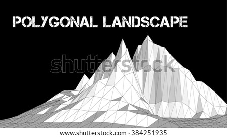 Vector illustration of a three-dimensional wireframe landscape on a black background