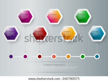 Vector illustration of a timeline infographics hexagons - stock vector